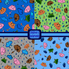 Set Of Patterns Umbrellas With...