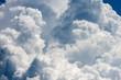 Leinwandbild Motiv Detail of white clouds in the blue sky - Cumulonimbus