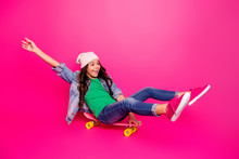 Portrait Of Funny Funky Positive Cheerful Satisfied Kid Daughter Entertainment Have Holidays Summer Hobby Longboard Wear Jeans Sneakers Playful Rejoice Content Isolated On Pink Background