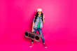 Leinwandbild Motiv Full length body size photo beautiful little she her curly brunette lady hands arms old tape audio recorder show v-sign wear yellow sun specs hat casual jeans denim jacket isolated pink background