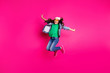 Leinwandbild Motiv Full length body size photo beautiful little age she her curly lady jumping action disco party amazing look long hairdo wear yellow sun specs hat casual jeans denim jacket isolated pink background
