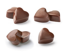 Chocolate Candy  Heart On A White Background