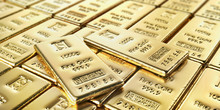 Golden Bars Isolated On A Whit...