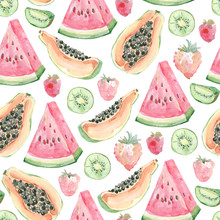 Watercolor Cute Seamless Pattern Baby Tropical Fruits And Barry. Hand Painted Exotic Coctails On White Background. Watermelon, Strawberry, Papaya, Summer Tropical Print