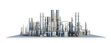 Oil Refinery, Isolated On White Background. 3d Illustration
