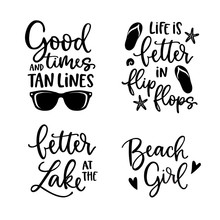 Summer Lettering Set. Black Ha...