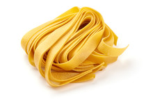 Italian Tagliatelle Pasta, Close-up, Isolated On White Background