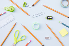 Assortment Of Stationery On Blue Background