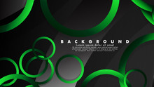 Abstract Metal Vector Background With Shiny Fancy Green Black Circles