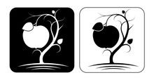Stylized Image Of An Apple Tree With Fruit And Leaves. Black And White Options. Two Logos Or Emblems.