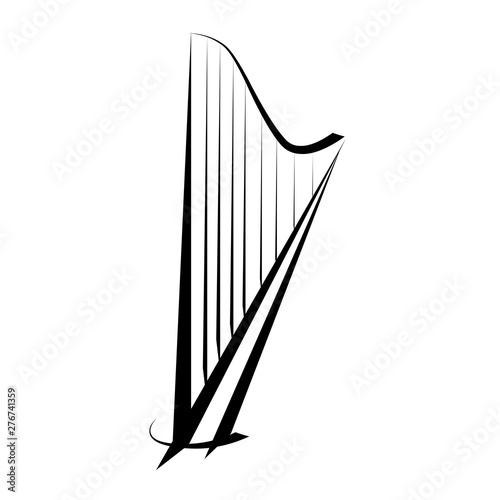 Fényképezés Harp. Graphic drawing. Logo, symbol.