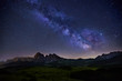 canvas print picture - Milky Way over Alpe di Siusi in Dolomites, Italy