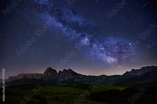 Canvas Prints Countryside Milky Way over Alpe di Siusi in Dolomites, Italy