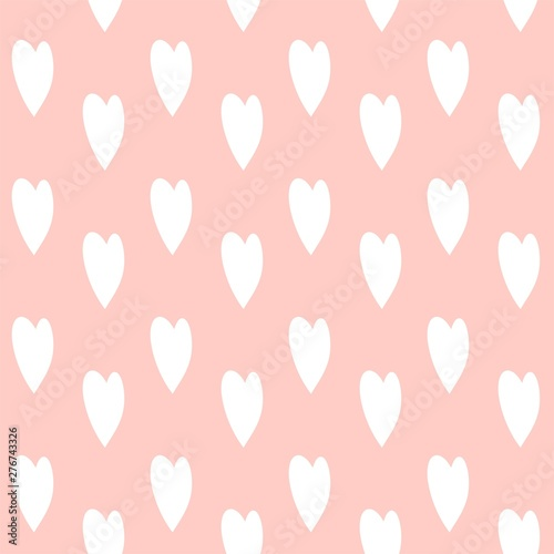 Seamless pattern with cute cartoon hearts, for decor of cloth, children's room, vector image