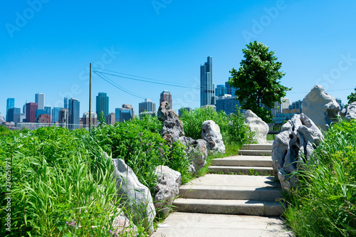 Stairs lined with Native Plants and Decorative Rocks at Ping Tom Memorial Park in Chinatown Chicago