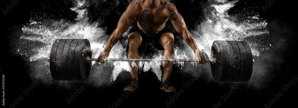 Fototapety, obrazy: Man workout with barbell at gym