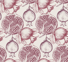 Vector Seamless Pattern With Pomegranate Fruits, Flowers, Branches.