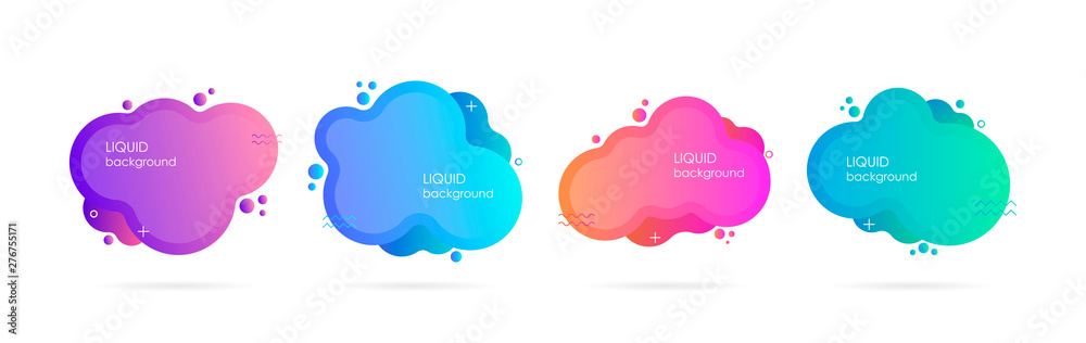 Fototapety, obrazy: Abstract liquid shape. Fluid design. Isolated gradient waves. Modern vector illustration