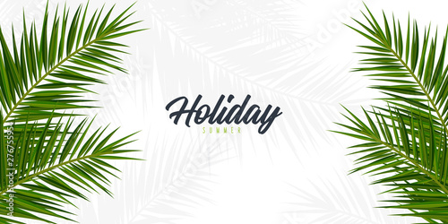 Summer Tropical palm leaves Canvas Print