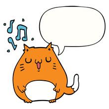Cartoon Cat Singing And Speech Bubble