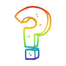 Rainbow Gradient Line Drawing Cartoon Question Mark