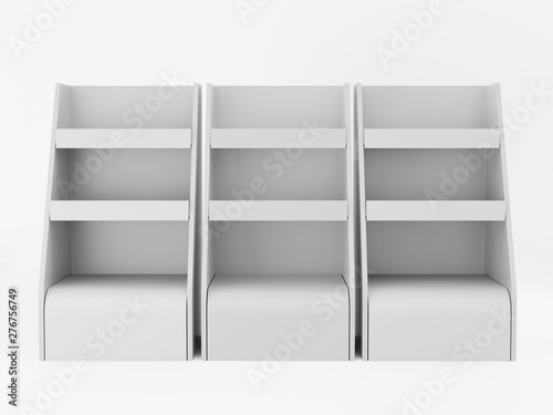 Fotomural Empty Product Promotional Shelf Display Stand Isolated On White