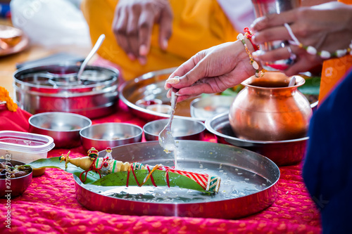 Indian hindu pre wedding ritual pooja items close up - Buy this