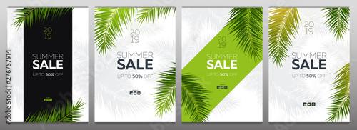 Zestaw bannerów sprzedaży z letnich liści palmowych tropikalnych. Drzewo egzotyczne palmy. Kwiatowy Tło.