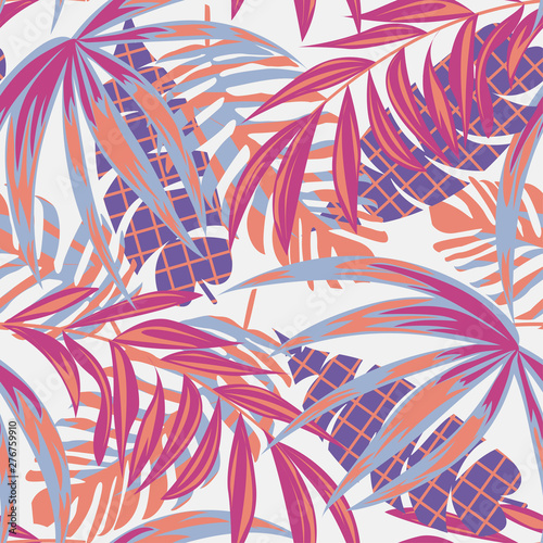 Poster Aquarel Natuur Beach seamless pattern with colorful tropical leaves and plants on a delicate background. Vector design. Jungle print. Floral background. Printing and textiles. Exotic tropics. Bright design.