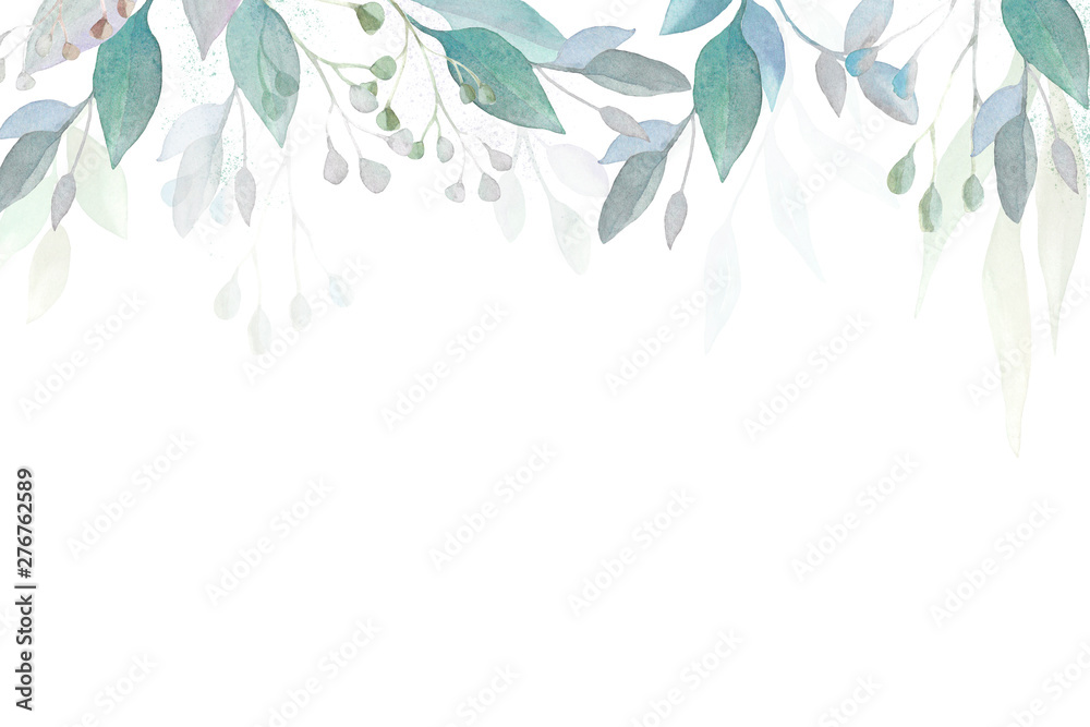 Fototapety, obrazy: Herbal banner. Watercolor leaves and branches. Design for invitations and postcards