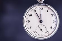 Vintage Pocket Watch On Dark Background. Deadline And Time Management Concept.