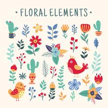 Beautiful Colorful Floral Element Set