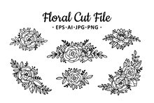 Beautiful Floral Cut File Elem...