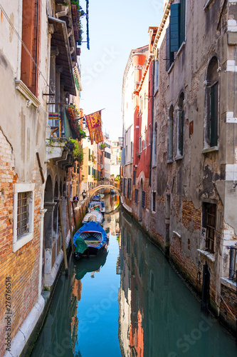Aluminium Prints Venice View of the canal, old houses and bridge in Venice, Italy