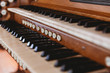 canvas print picture - Close up view of a church pipe organ