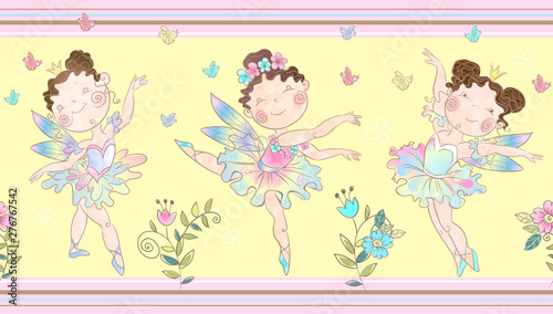 Fototapeta Wróżki   seamless-border-with-cute-little-magical-fairies-vector
