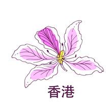 Vector Hand Drawn Illustration Of Bauhinia Variegata, National Hong Kong Flower And Chinese Hieroglyphs Hong Kong, Isolated On White.