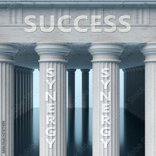 Photo  Synergy is a vital part and foundation of success, it helps achieving success, p
