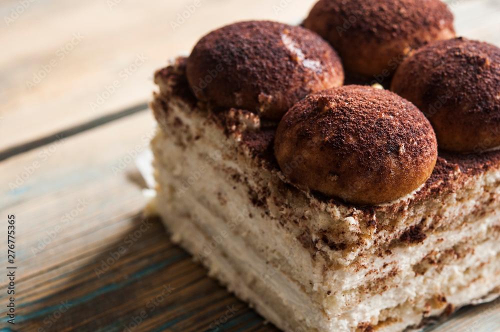 Fototapety, obrazy: chocolate brownie cake, dessert on dark background, directly above