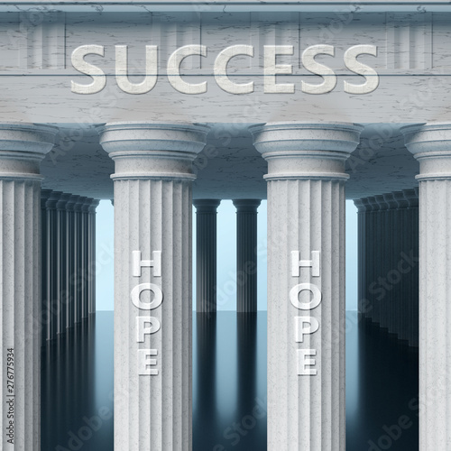 Photo  Hope is a vital part and foundation of success, it helps achieving success, pros