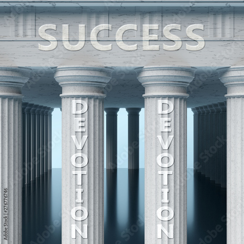 Devotion is a vital part and foundation of success, it helps achieving success, Canvas Print