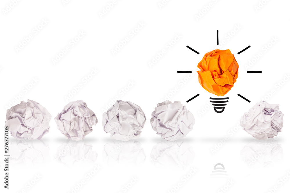 Fototapety, obrazy: Creative Idea Solution Concepts Light Bulb with Crumpled Paper on White Background