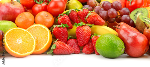 Heap fruit and vegetables isolated on white - 276779347