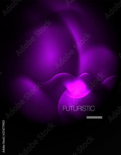 Shiny neon geometric waves template