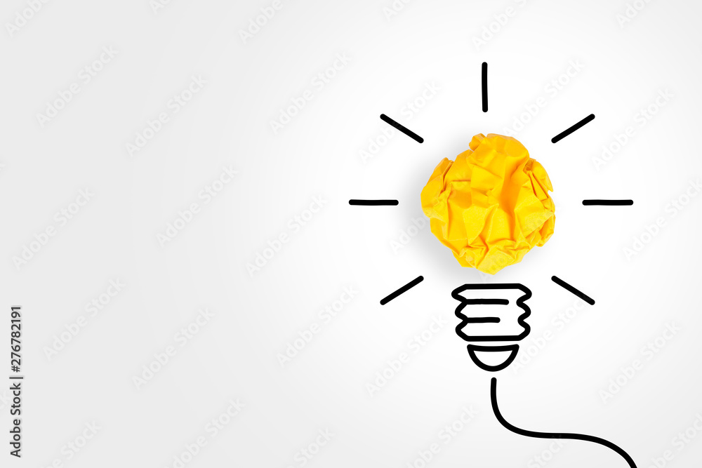Fototapety, obrazy: New Idea Concepts Light Bulb with Crumpled Paper on White Background