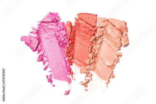 Obraz Shiny smear of bright coral and pink eyeshadow - fototapety do salonu