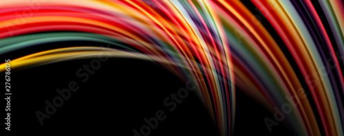 Fluid color rainbow style wave abstract background, techno modern design on black