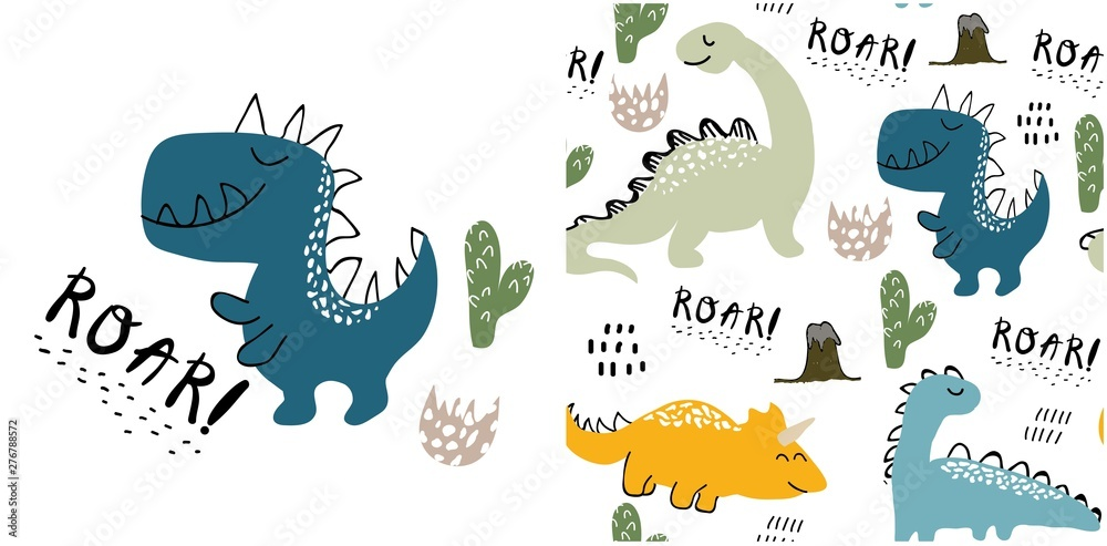 Fototapety, obrazy: set of cute dinosaur print and seamless pattern with dinosaurs. vector illustration