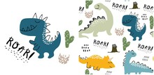 Set Of Cute Dinosaur Print And...