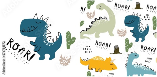 Photo set of cute dinosaur print and seamless pattern with dinosaurs